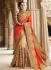 Party wear cream n orange half n half saree 1959