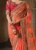 Party wear orange art silk georgette saree 1961