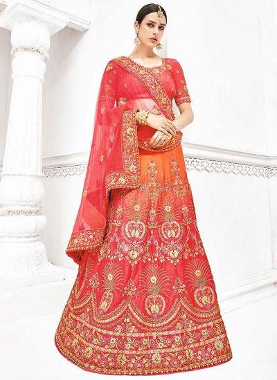 Orange and pink pure banarasi silk wedding lehenga 1108
