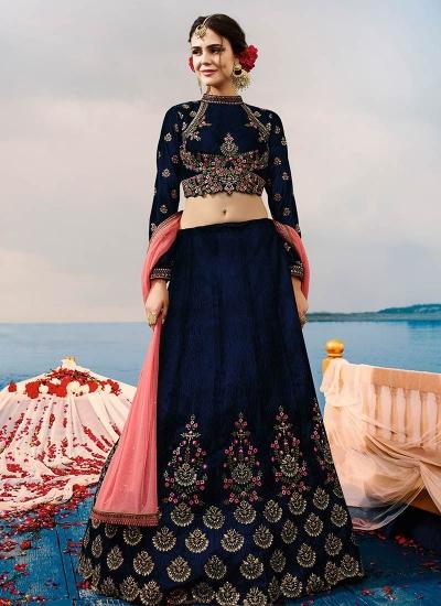 Blue velvet a line wedding lehenga choli 507