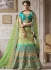 Rama green and blue satin silk wedding lehenga 4002