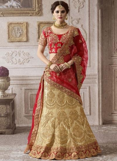 Beige red color satin wedding lehenga 4003