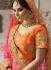 Orange pink color satin wedding lehenga 4005