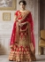 Red satin silk wedding lehenga 4007