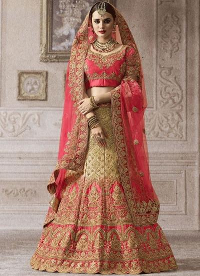Beige pink satin silk wedding lehenga 4011