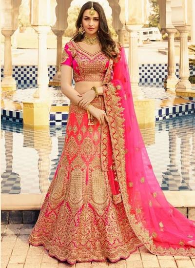 Pink color heavy work wedding lehenga choli 13070