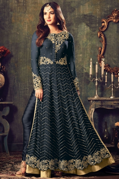 Sonal chauhan Black color net party wear anarkali suit 4707C