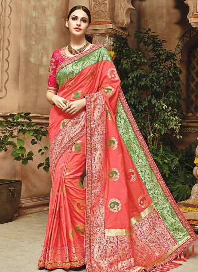 Peach pure banarasi silk saree 1206