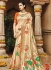 Cream color pure banarasi silk wedding saree 1209