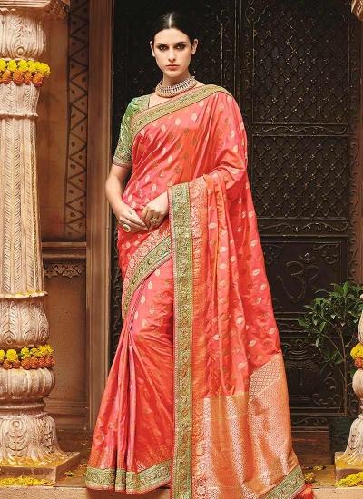 Peach pure banarasi silk wedding saree 1214
