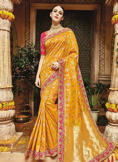 Yellow pure banarasi silk saree wedding 1218