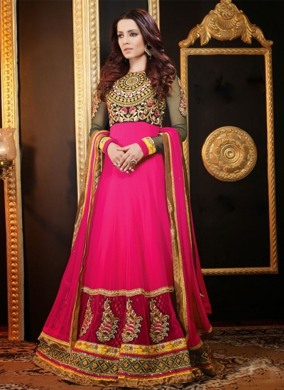 CELINA JAITLY BOOTI AND BEADS WORK  ANARKALI SALWAR KAMEEZ