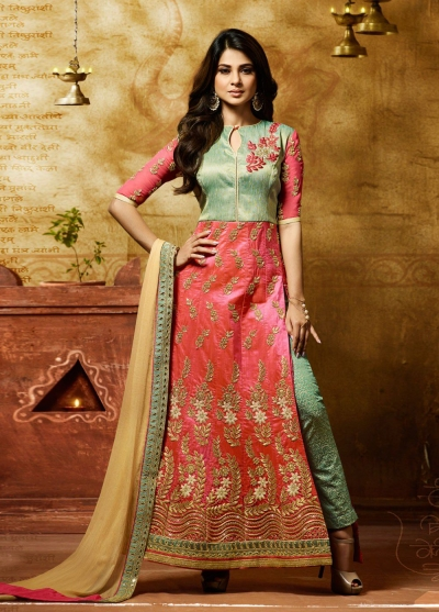 Jennifer winget peach banarasi silk anarkali 11013
