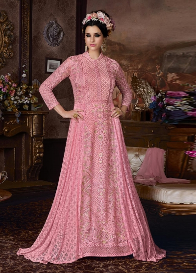 Pink net wedding anarkali 105