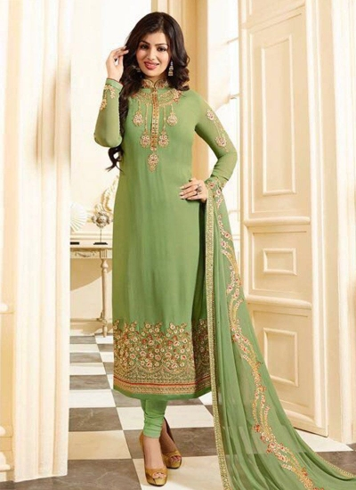 Ayesha takia green georgette straight suit 25103