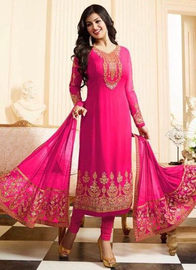Ayesha takia rani pink georgette straight suit 25104