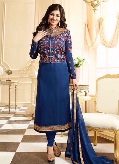Ayesha takia navy blue georgette straight suit 25107