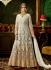 Cream net bridal wear embroidery work anarkali style 3881