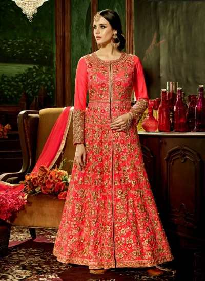 Gajri silk bridal wear embroidery work anarkali style 3882