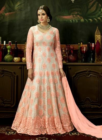 Peach net bridal wear embroidery work anarkali style 3883