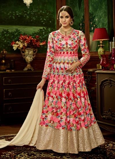 Pink net bridal wear embroidery work anarkali style 3885