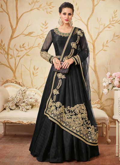 Black german silk party wear anarkali kameez