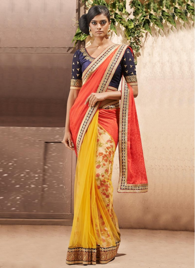 Red and Yellow Different Style Trendy Net Designer wedding wear saree