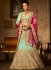 Mint green banglori silk blue and hot pink a line wedding lehenga choli 5002
