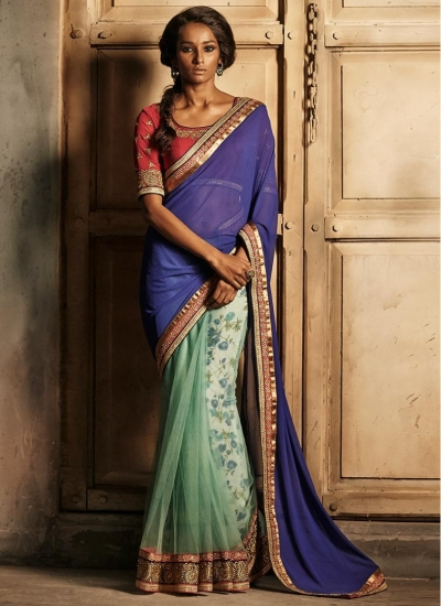 Blissful Blue and Sky Colored Net Designer wedding wear saree