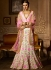 White banglori silk pink and white lace work a line lehenga choli 5010