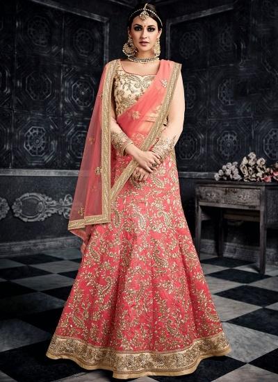 Peach color australian silk wedding lehenga choli 3001