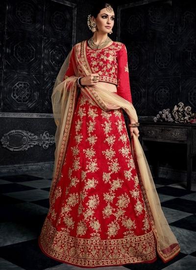 Red color australian silk wedding lehenga choli 3003