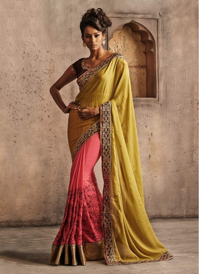 Flamboyant Green and Pink Georgette Half and Half Designer wedding wear saree