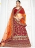 Red color silk wedding lehenga choli 1302