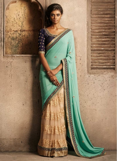 Superior Cream and Sea Green Georgette, Net and Santoon Designer wedding saree