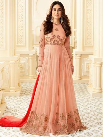 Kareena Kapoor peach color georgette anarkali kameez