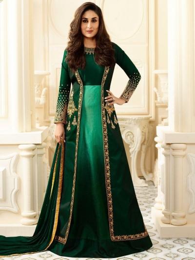 Kareena Kapoor bottle green georgette straight cut salwar kameez
