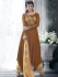 Chocolate brown color handloom silk wedding wear salwar kameez