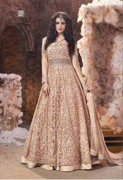 Party wear Pink Gold Anarkali 18001