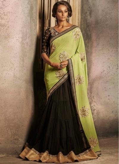 Superior Black and Green Lehenga Style  saree