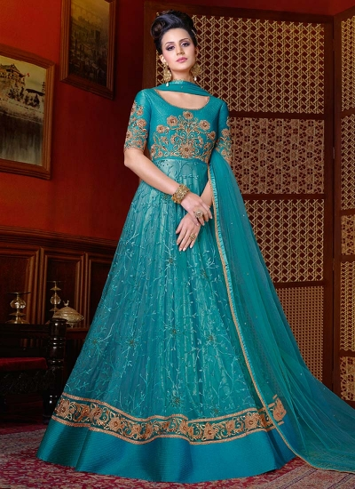 Blue color net wedding anarkali