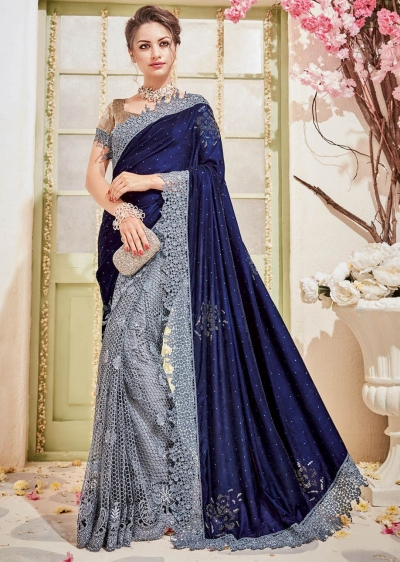 Grey Velvet Net Stone Worked Partywear Saree 4104