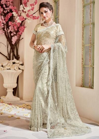 Beige Net Embroidered Partywear Saree 4108