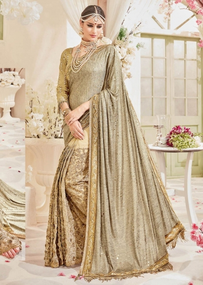 Beige Silk Net Embroidered Wedding Saree 4110