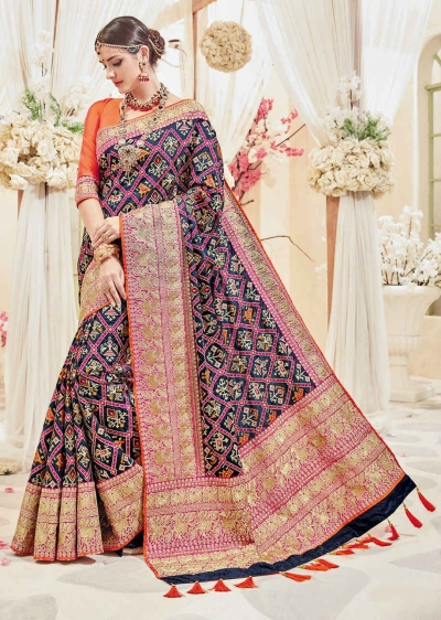 Blue Banarasi Silk Woven Wedding Saree 4112