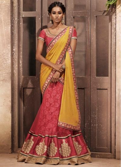 Hot Pink and Yellow Net Brasso Designer wedding wear saree