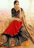 Beige red navy blue half and half wedding saree 8001