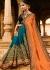 Orange blue half and half wedding saree 8003