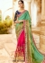 Green pink blue wedding saree 8007