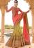 Beige pink half and half wedding saree 8008